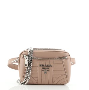 Item - Belt Convertible Diagramme Quilted Small Pink Leather Cross Body Bag