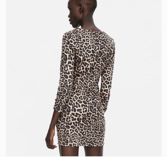 Item - Black Brown Ruched Leopard Mini Short Night Out Dress Size 4 (S)