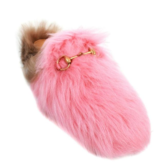 Item - Pink - Brown Horsebit New: Princetown Fur Slipper Mules/Slides Size EU 36 (Approx. US 6) Regular (M, B)