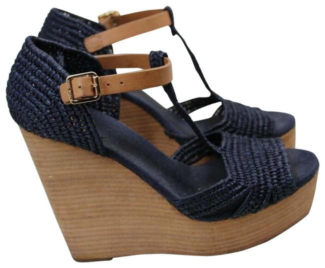 Item - Blue T Carina Strap Open Toe Summer Staple Sandal Wedges Size US 6.5 Regular (M, B)