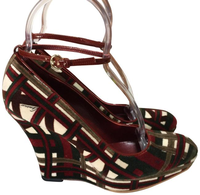 Item - White Burgundy Green Italy Wedges 8 Platforms Size EU 37 (Approx. US 7) Wide (C, D)