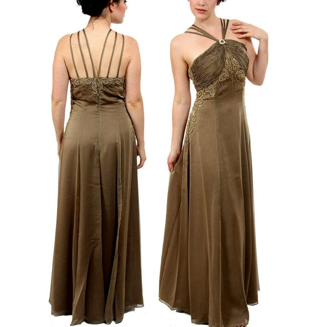 Item - Olive Chiffon Beaded -paola- Embellished Mother Of The Bride Gown Formal Bridesmaid/Mob Dress Size 8 (M)