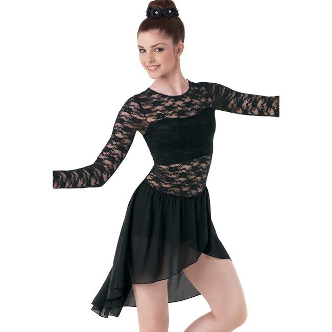 Item - Black Long Sleeve Lace and Georgette Wrap Night Out Dress Size 4 (S)