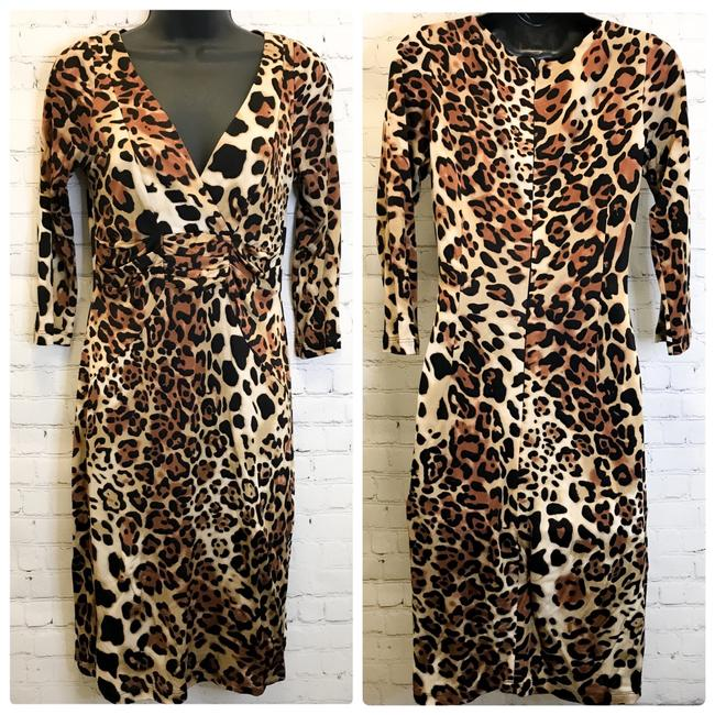 Item - Brown Vintage 90's Animal Cheetah Print 3/4 Sleeve Mid-length Night Out Dress Size 4 (S)
