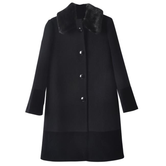 Item - Black Fur Collar Velvet Trim Coat Size 4 (S)