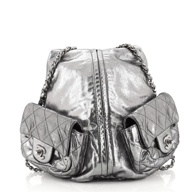 Item - Is Back Large Metallic Silver Leather Backpack