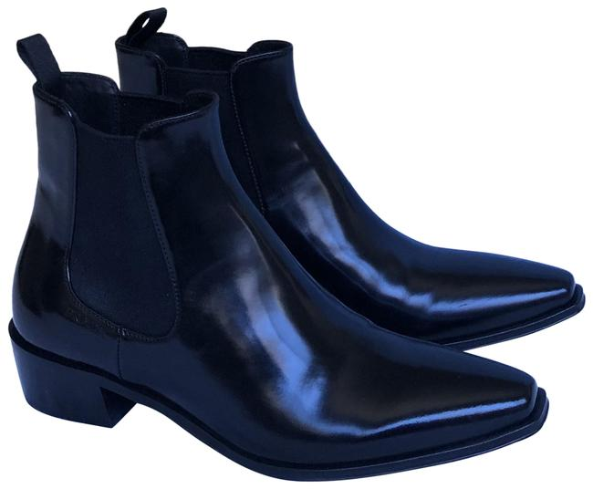 Item - Black Brushed Leather Booties/Square Toe Chelsea Boots/Booties Size EU 37 (Approx. US 7) Regular (M, B)