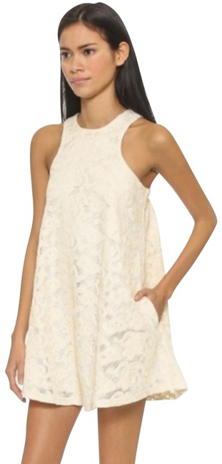 Item - White Cream Lace Floral Embroidered Tented Short Cocktail Dress Size 12 (L)