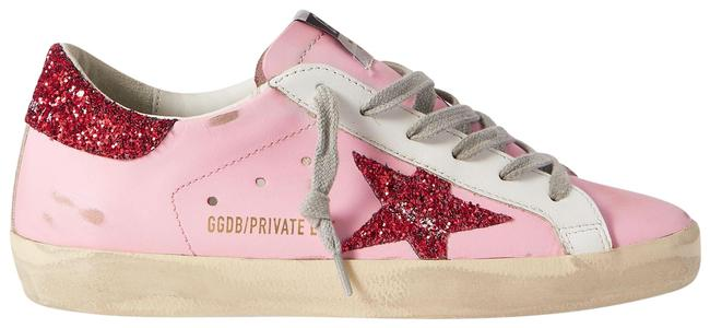 Item - Pink Superstar Glittered Distressed Leather Sneakers Size EU 38 (Approx. US 8) Regular (M, B)