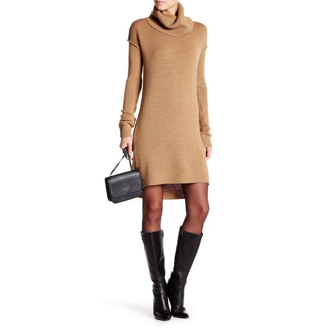 Item - Tan Small S Chunky Wool Turtleneck Sweater Short Casual Dress Size 4 (S)