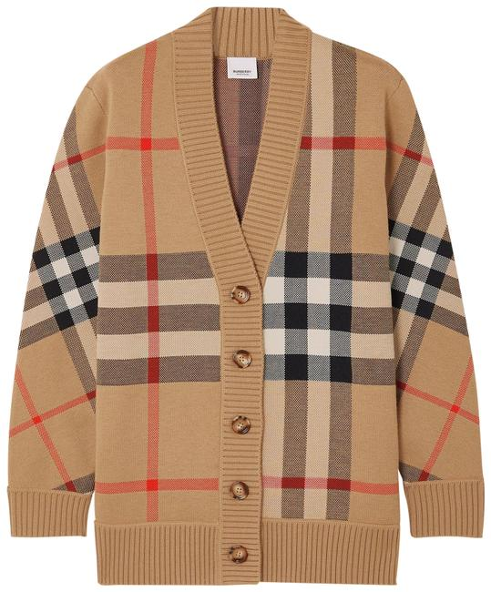 Item - Beige Checked Jacquard-knit Cardigan Size 4 (S)