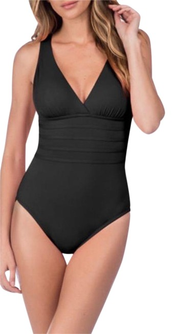 Item - Black Island Goddess Multi Strap Cross-back One-piece Bathing Suit Size 12 (L)