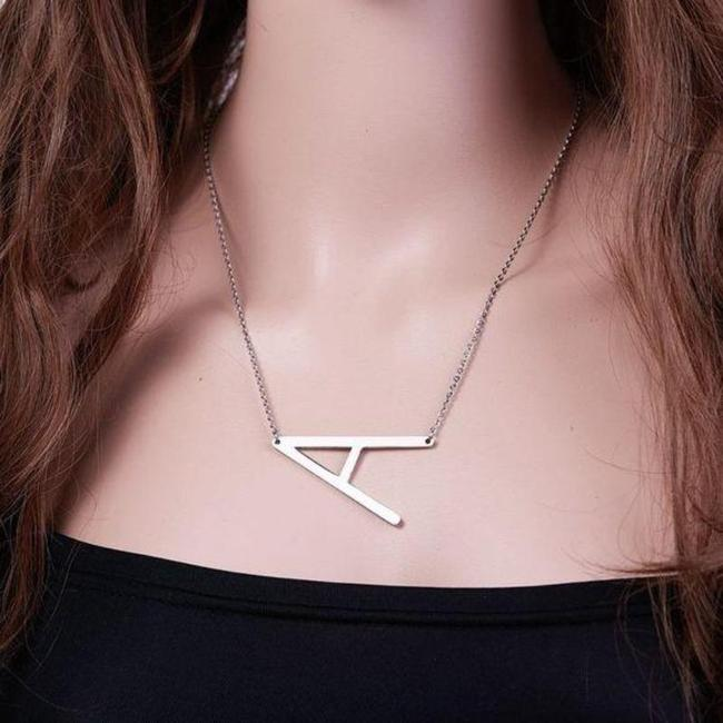 Unbranded Silver Tone Letter A Stainless Steel Necklace Unbranded Silver Tone Letter A Stainless Steel Necklace Image 1