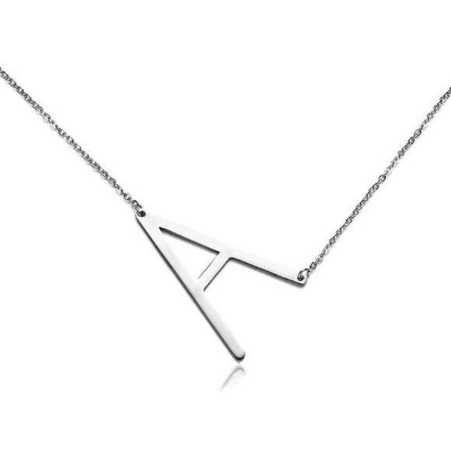 Unbranded Silver Tone Letter A Stainless Steel Necklace Unbranded Silver Tone Letter A Stainless Steel Necklace Image 2