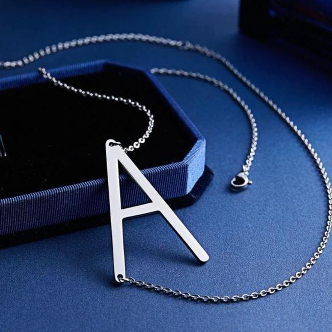 Unbranded Silver Tone Letter A Stainless Steel Necklace Unbranded Silver Tone Letter A Stainless Steel Necklace Image 3