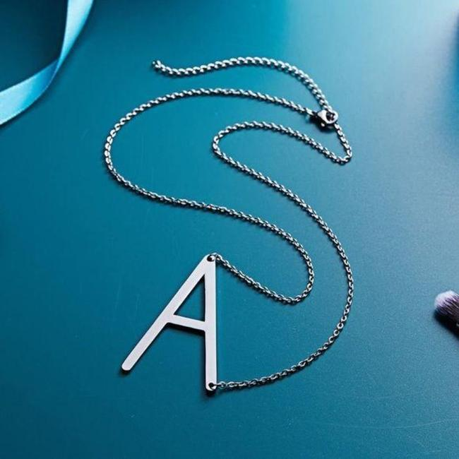 Unbranded Silver Tone Letter A Stainless Steel Necklace Unbranded Silver Tone Letter A Stainless Steel Necklace Image 4