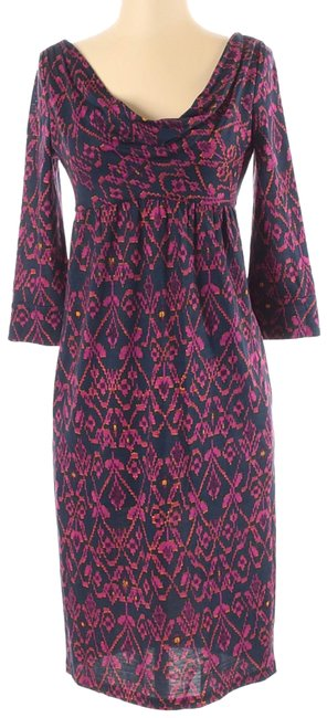 Item - Slate Blue and Pink Dvf Silk Printed Scoop Neckline Mid-length Short Casual Dress Size 4 (S)