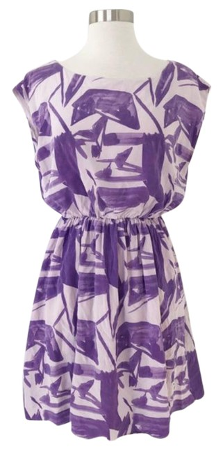 Item - Purple & White Silk Chiffon Geometric Abstract Party Short Casual Dress Size 4 (S)