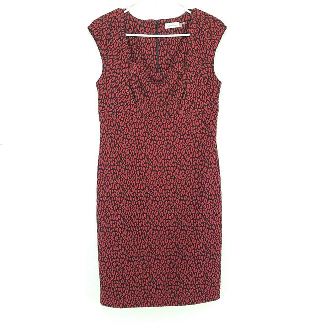 Item - Red Sleeveless Animal Print Sheath Mid-length Work/Office Dress Size 6 (S)