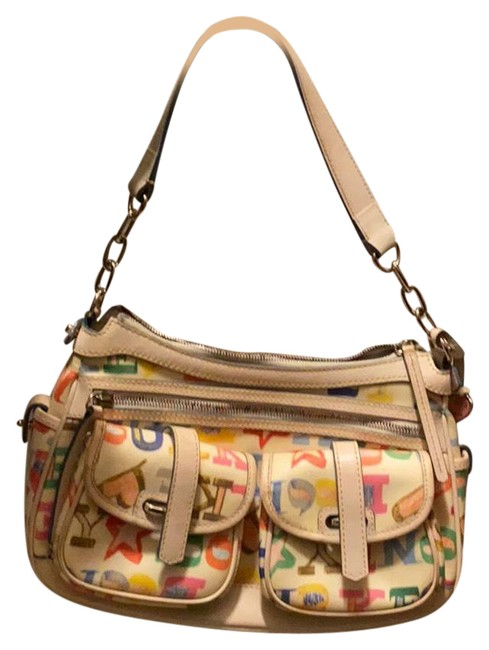 Item - Cream W/ Colorful Letters Of Db Letters Leather Shoulder Bag