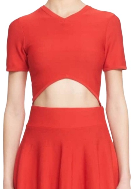 Item - Red Corey Cut Out Crop Small Tee Shirt Size 6 (S)