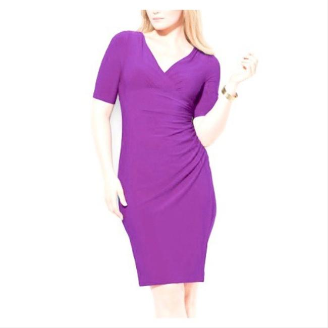 Item - Purple Faux Wrap Ruched Mid-length Work/Office Dress Size 8 (M)