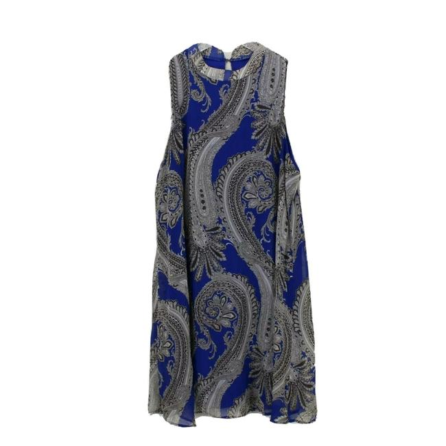 Item - Blue Paisley Print Sleeveless Medium Mid-length Short Casual Dress Size 8 (M)
