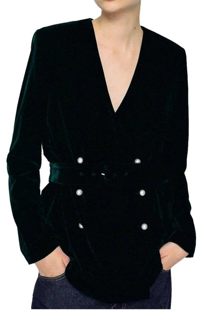 Item - Belted Velvet with Pearl Buttons Medium Green Top