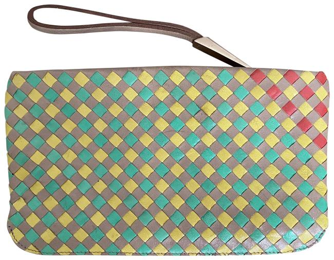 Item - Multi Color Taupe Mint Yellow & Red Leather Wristlet