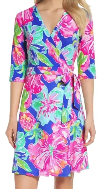 Item - Purple Green Marvista Wrap Floral Mid-length Short Casual Dress Size 8 (M)