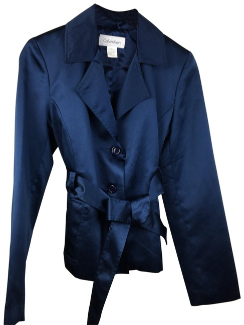 Item - Blue Belted Crop Trench Jacket Size 10 (M)