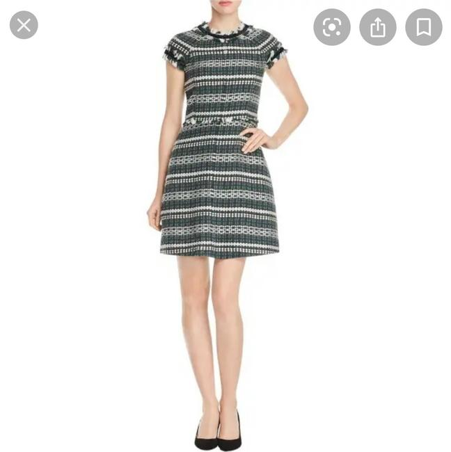 Item - Green Black and White Tweed Mid-length Short Casual Dress Size 4 (S)