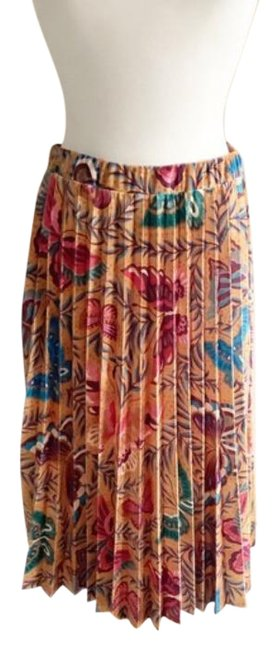 Item - Brown Orange Farm Rio Butterflies Pleated Skirt Size 8 (M, 29, 30)