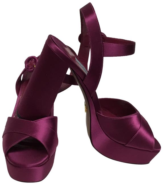 Item - Purple Silk Sandals with Ankle Strap Platforms Size EU 39.5 (Approx. US 9.5) Regular (M, B)