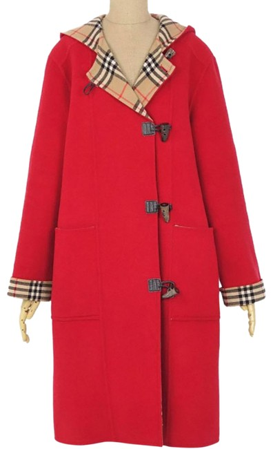 Item - Red W Double-faced Wool/Cashmere Blend W/Hood Us Small/Medium Coat Size 6 (S)