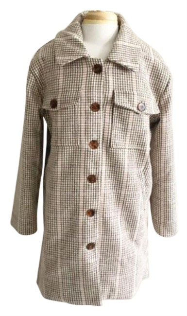 Item - Brown Tan L Elisabeth Plaid Button Front Coat Size 12 (L)