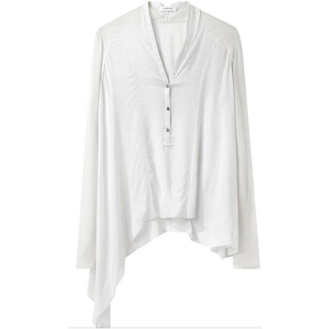 Item - White Asymmetrical Henley S Blouse Size 4 (S)