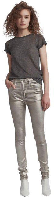 Item - Silver Coated High Rise Metallic Skinny Jeans Size 12 (L, 32, 33)