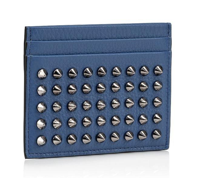 Item - Blue M Kios Jeans Leather Gun Metal Silver Spike Credit Card Holder Wallet
