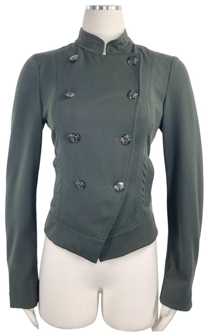 Item - Green Fitted Double Breasted Military Style Short Jacket Stretched Blazer Size 2 (XS)