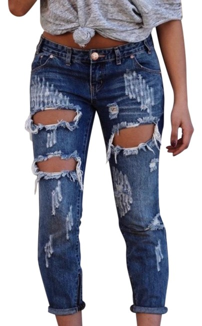 Item - Blue Medium Wash Trashed Freebird Destroyed Relaxed Fit Jeans Size 8 (M, 29, 30)