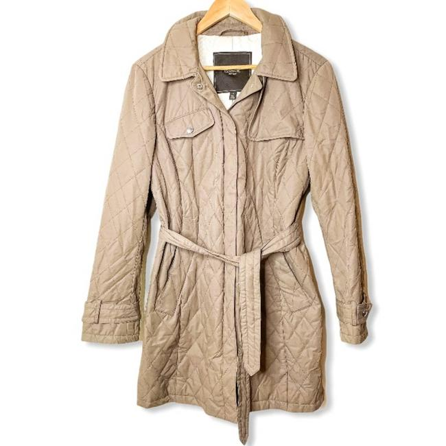 Item - Tan Quilted Belted Jacket Coat Size 12 (L)