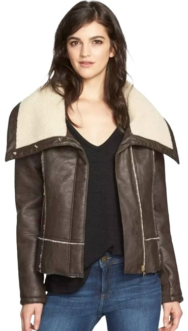 Item - Brown Amy Aviator Faux Leather Moto Jacket Coat Size 12 (L)