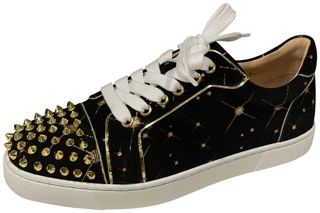Item - Black/Gold Vieira Spikes Stud Suede Spoutnic Low Top Lace Up Flat Sneakers Size EU 37 (Approx. US 7) Regular (M, B)