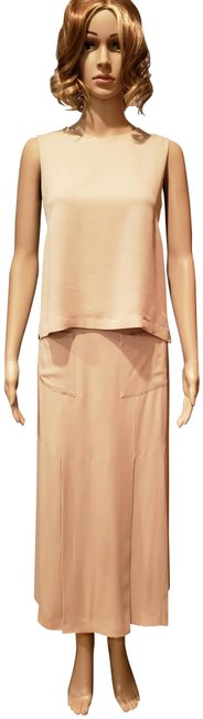 Item - Beige Silk Top and Pleated Skirt Suit Size 6 (S)