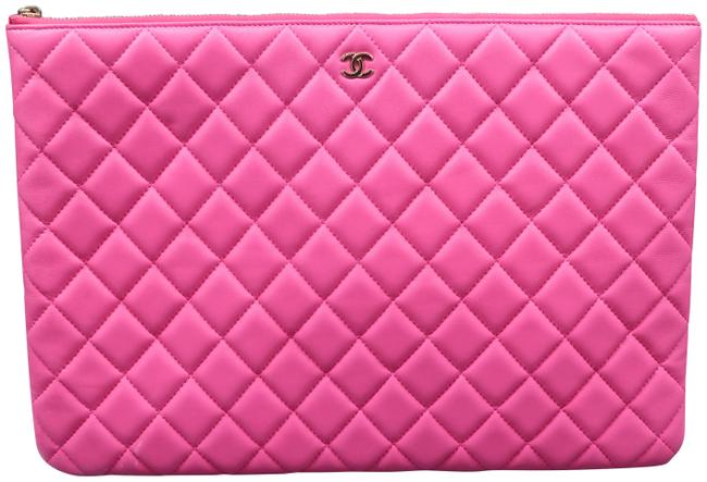 Item - Quilted O-case Large Hotpink Lambskin Leather Clutch