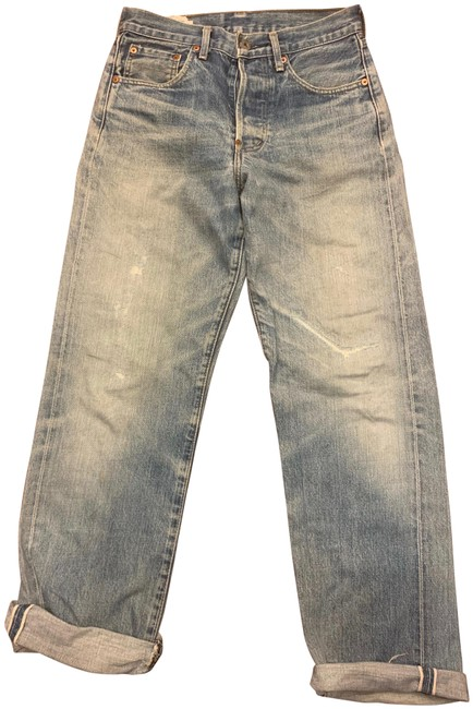 Item - Blue Light Wash Vintage 701xx Big E Button Fly Soft Distressed Red Line Selvedge Relaxed Fit Jeans Size 29 (6, M)