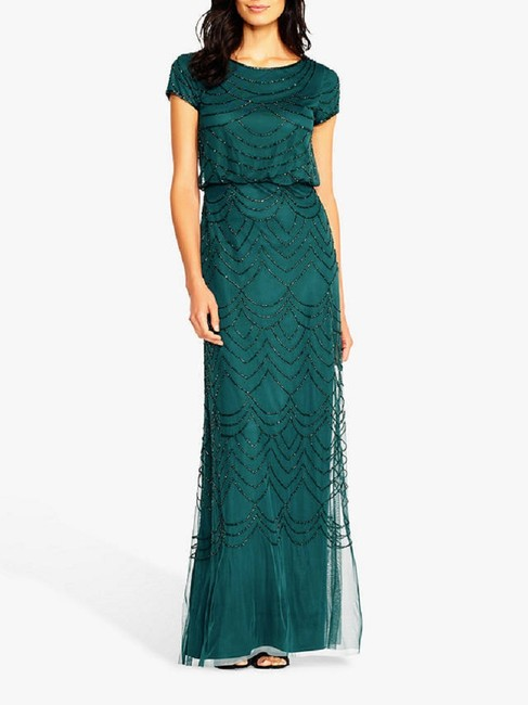 Item - Dusty Emerald Blouson Beaded Gown Formal Bridesmaid/Mob Dress Size 8 (M)