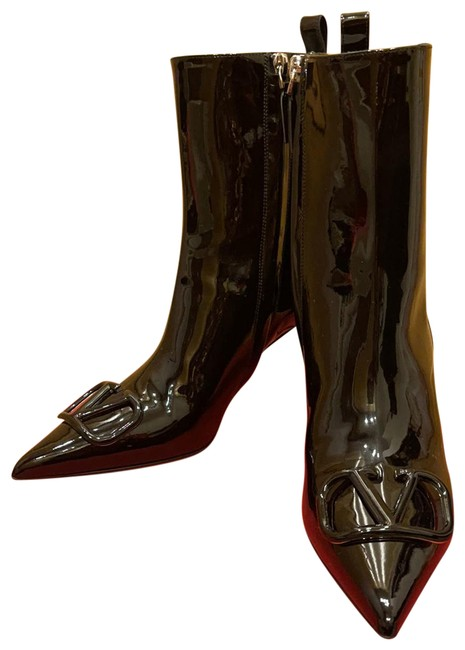 Valentino Vlogo Patent Leather Boots/Booties Size US 8 Regular (M, B) Valentino Vlogo Patent Leather Boots/Booties Size US 8 Regular (M, B) Image 1