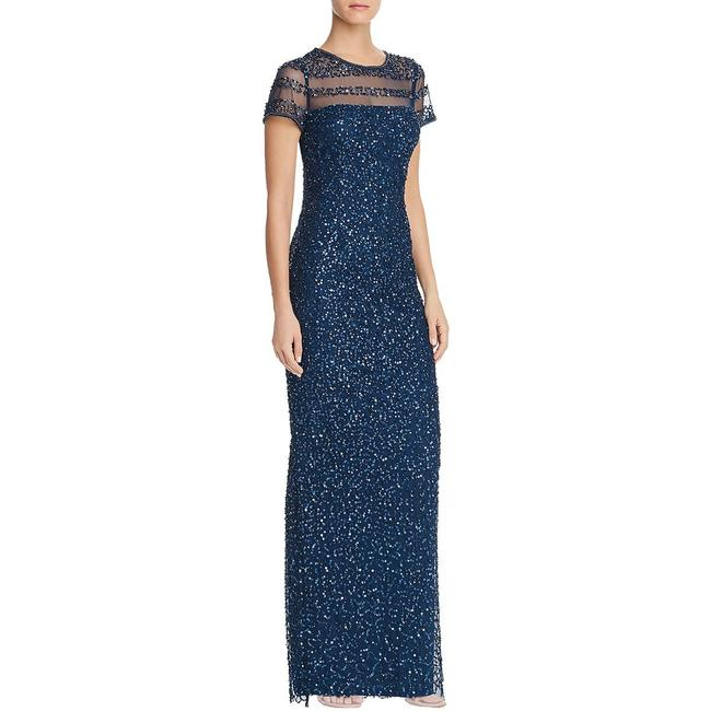 Item - Deep Blue Short Sleeves Sequined Illusion Evening Gown Formal Bridesmaid/Mob Dress Size 2 (XS)
